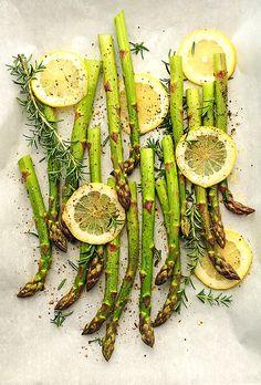Roasted lemon herb asparagus.