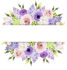 Background With Pink, Purple And White Roses And Lilac Flowers. Vector Stock Vector - Illustration of bloom, background: 53265917 Purple And White Flowers, Lilac Flowers, Green Rose, Vintage Flowers, White Roses, Pink Purple, Vintage Flower Backgrounds, Png Floral, Deco Floral