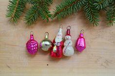 Set of 5 mini christmas tree glass ornaments antique soviet #christmas #glassornaments #treedexor