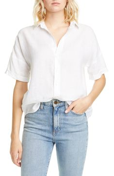 Looking for Frank & Eileen Rose Short Sleeve Linen Button-Up Shirt ? Check out our picks for the Frank & Eileen Rose Short Sleeve Linen Button-Up Shirt from the popular stores - all in one. Short Sleeve Button Up, Button Up Shirts, Cropped Skinny Jeans, Striped Linen, Plus Size Blouses, Cotton Sweater, Fashion Pants, Shirt Outfit, Casual Outfits