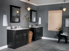 Bathroom, Stylish Hanging Lighting Feat Black Cabinet Color Design Also Wall Ring Towel Rack Idea In Cozy Master Bathroom ~ Master Bathroom Ideas in Modern Housing