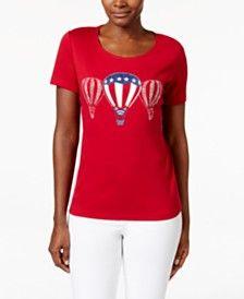 Karen Scott Hot Air Balloon Graphic T-Shirt, Only at Macy's