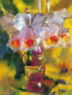 Augusto Giacometti Orchids on Yellow Ground 1928