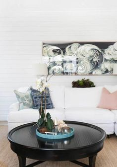 Tranquil white and ocean waves living room: http://www.stylemepretty.com/living/2016/09/24/dream-living-rooms-we-could-lounge-in-all-weekend-long/