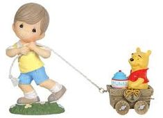 "Christopher Robin pulls first car with Winnie the Pooh and his ""hunny"" pot Figure by Precious Moments Winnie the Pooh Disney Train #1"