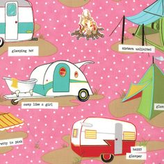 GLAMPING Shasta PINK Aqua Glamour CAMPING quilt fabric Mary Jane Moda caravan camper daisy polka dots