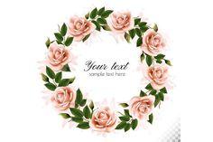 Flower frame with beauty pink roses. Monster Illustration, Flat Illustration, Illustrations, Flower Circle, Flower Frame, Watercolor Flowers, Watercolor Art, Wreath Watercolor, Hacker Wallpaper