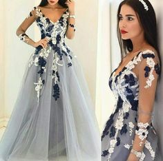 $154.89 Blue Sheer Sleeves Appliques A-line Tulle Prom Dresses 2017products_id:(1000075245 or 1000075170 or 1000074546 or 1000073444)