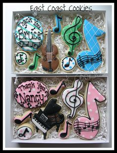Music Teacher gifts    Gifts for a Piano and Violin Teacher. I'm pretty sure that the Large music note cookie decorated with the staff was inspired by Marlyn of Montreal Confections (I don't think I saw it anywhere else): www.flickr.com/photos/montrealcookies/4630222733/
