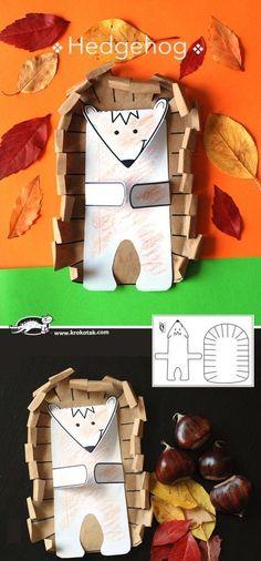 Hedgehog crafts, handicrafts and simple, easy-to-use activities of cardboard. Preschool Activities W Diy And Crafts, Crafts For Kids, Arts And Crafts, Paper Crafts, Autumn Activities, Preschool Activities, Children Activities, Autumn Crafts, Autumn Art