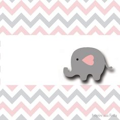 Baby Elephant in Grey and Pink Chevron: Free Printable Invitations and Free Printable Candy Bar Labels.