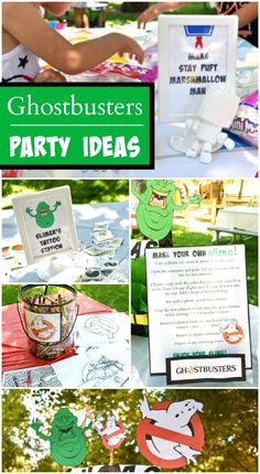 """Ghostbusters / """"Outdoor 5th Birthday Party!!"""" A Ghostbusters birthday party with a DIY jumbo Jenga and make your own slime station! See more party planning ideas at LivingMiVidaLoca!"""