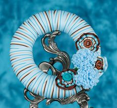 Turquoise Blue and Chocolate brown Ribbon wrapped by debindave, $18.00