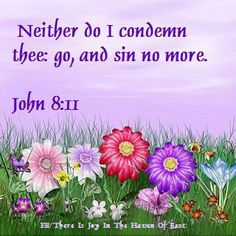 JOHN  8:11 She said, No man, LORD. And JESUS said unto her, Neither do I condemn thee: go, and sin no more.