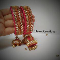 Silk Thread Bangles Design, Silk Thread Necklace, Silk Bangles, Bridal Bangles, Thread Jewellery, Fabric Earrings, Fabric Jewelry, Antique Jewellery Designs, Bangles Making