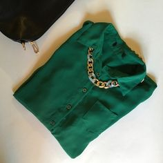 """Sheer Emerald High-Low Blouse Sheer emerald green high-low blouse from """"mine"""". Pre-loved, in good condition. The tag is cut off at the top. A size medium, it would fit a small loosely as well. A bold color, perfect for spring! Mine Tops Blouses"""