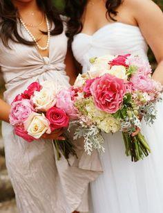 Real Weddings, pink, Bride Bouquets, Bridesmaid Bouquets, Garden Real Weddings, Garden Weddings