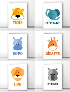 Safari nursery decor, Jungle nursery art prints, Modern kids wall art, tiger art, elephant art, hippo art, giraffe art, lion art, rhino art By LimitationFree