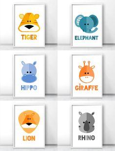 Safari nursery decor, Jungle nursery art prints, Modern kids wall art, tiger art, elephant art, hippo art, giraffe art, lion art, rhino art By LimitationFree on Etsy
