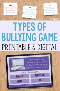 Do your students know about the types of bullying? These bullying prevention activities will help them realize that there is more than just physical bullying. Students will look at 30 scenarios and determine whether it is an examples of physical, emotional, cyber or verbal bullying. The game comes in a printable and digital format, which makes it great for distance learning or in person lessons. It is perfect for small group or classroom school counseling lessons focused on anti-bullying!