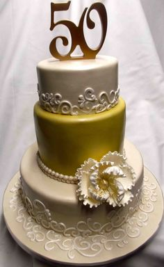 50th anniversary cakes | Gold 50th Anniversary Cake | ANNIVERSARY CAKES ( THE CAKES ...