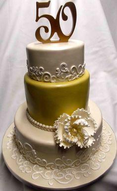 50th anniversary cakes   Gold 50th Anniversary Cake   ANNIVERSARY CAKES ( THE CAKES ...