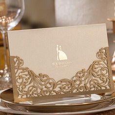 "modern elegant metallic brown laser cut wedding invitations//Use coupon code ""rpin"" to get 10% off towards all the invitations. #elegantweddinginvites"