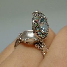 Aquamarine & Opal Poison Locket Sterling Silver .925 Ring ...