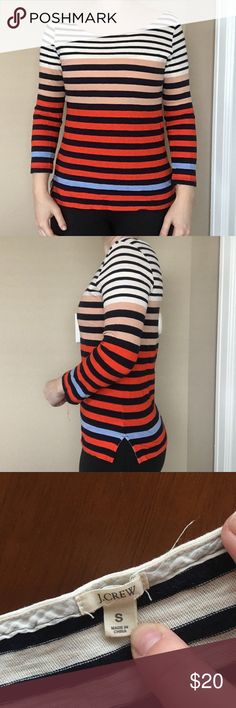 J. Crew Color Blocked Striped Boatneck T-Shirt Lightly worn. No visible signs of wear. J. Crew Tops Tees - Long Sleeve