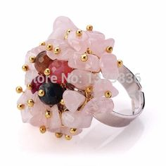 Find More Rings Information about Fashion Design Multi Color Agate and Rose Quartz Chips Adjustable Ring,High Quality Rings from Lucky Fox Jewelry on Aliexpress.com