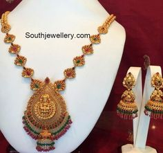 Antique Gold Temple Necklace and Jhumkas #GoldJewellerySouthindian