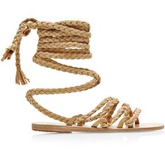 Ancient Greek Sandals Kariatida Braided Strap Suede Sandals featuring polyvore, fashion, shoes, sandals, flats, sapatos, flat sandals, beige, beige shoes, flat shoes, suede flat shoes, beige flats and suede flats