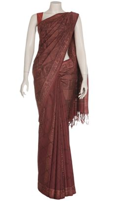 Brick Red Batik Printed and Hand Painted and Silk Saree