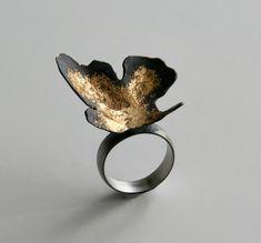 "Ring | Nikolai Balabin.  ""Random Processes"",  2009.  Silver, patina, leaf gold"