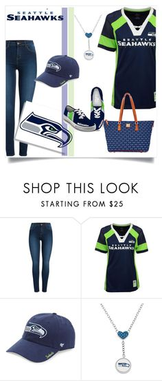 """""""Seattle Seahawks"""" by katiephan ❤ liked on Polyvore featuring Pieces, Majestic, '47 Brand and Dooney & Bourke"""