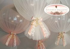 No words.... Ivory and peach tulle covered giant balloons with gold acrylic custom letter with satin - boutique_balloons_melbourne