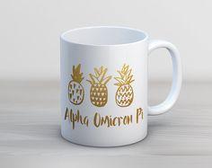 AOII Alpha Omicron Pi Faux Gold Foil Pineapple Mug by UptownGreek