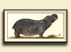 Drucken-Hippo Afrikanisch Hippo tierische von SanMartinArtsCrafts