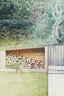 sloped wood storage & shed