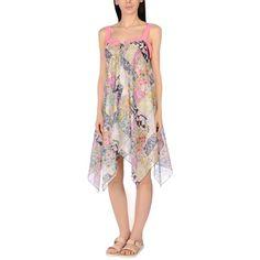 Blugirl Blumarine Beachwear Beach Dress ($175) ❤ liked on Polyvore featuring dresses, pink, floral dresses, flower print dress, floral applique dress, floral printed dress and floral beach dress