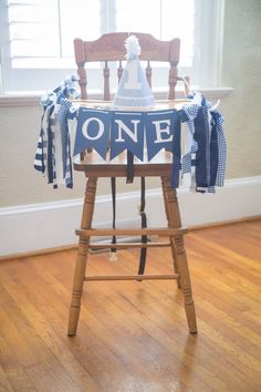 High chair bunting from a Time Flies Vintage Airplane 1st Birthday Party on Kara's Party Ideas | KarasPartyIdeas.com (11)