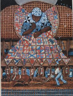 """blackartdepot: """"The fine art of acclaimed illustrator, designer, author and arist Michele Wood. The artwork above includes """"Basket"""", """"Slave Songs"""", """"I Lay My Stitches"""", """"My Soul Applauds at the Sound of Freedom"""" and """"Jacob's Ladder"""". View more..."""