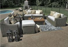 The Carvela Collection 7-Piece All Weather Wicker/Teak Patio Furniture Deep Seating Set . $4899.00