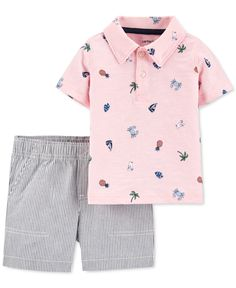 Carter's Baby Boys 2 Piece Beach Polo And Striped Short Set. Flaunting beach-theme prints, this infant polo by Carter's is paired with striped shorts for contrast styling. Printed Polo Shirts, Short Sleeve Polo Shirts, Niñas Carters Baby, Baby Gap, Matching Friend, Pink Beach, Striped Shorts, Baby Boy Outfits, Toddler Boys