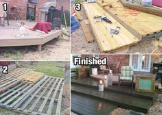 Build a DIY Deck with Wood Pallets for Cheap! - http://diyforlife.com/build-diy-deck-wood-pallets-cheap/ - #DiyDeck, #PalletDeck, #Pallets