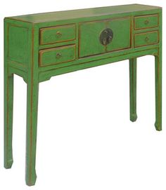 Green Lacquer Narrow Chinese Moon Face Console Altar Table - Eclectic - Computer Furniture - by Golden Lotus Antiques