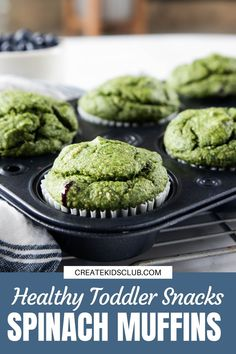 A healthy todder snack packed with bananas, blueberries and spinach. These muffins are vibrant green but you can puree the blueberries into the mix if desired. #healthytoddlersnack #spinachmuffins #spinachbananamuffins #spinachblueberrymuffins #createkidsclub Healthy Muffins For Kids, Healthy Toddler Snacks, Healthy Meals For Kids, Good Healthy Recipes, Kids Meals, Spinach Muffins, Veggie Muffins, Muffin Recipes, Snack Recipes