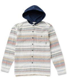 d9fd6f973fdc2 Billabong Big Boys Hooded Flannel Baja Shirt - Tan Beige XL (14) Hooded