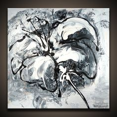 Black and White Abstract Paintings | by Peter Dranitsin: Black and White Flower abstract art painting ...