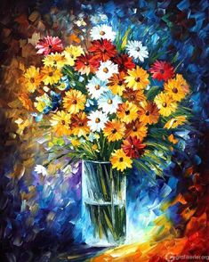 Morning Charm — Palette Knife Nature Floral Wall Decor Oil Painting On Canvas By Leonid Afremov. Size: X Inches cm x 75 cm) Art Floral, Floral Wall, Still Life Oil Painting, Oil Painting On Canvas, Canvas Art, Painting Art, Palette Knife Painting, Oil Painting Reproductions, Beautiful Paintings